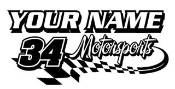 Personalized Motorsports 3 Decal Sticker