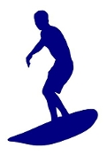 Surfer Silhouette v4 Decal Sticker