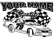 Personalized Stock Car Racing 2 Decal Sticker