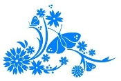 Floral Design with Butterfly v2 Decal Sticker