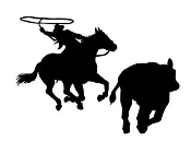 Calf Roper Silhouette Decal Sticker