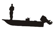 Fisherman on Boat Silhouette Decal Sticker