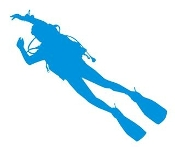 Scuba Diver Silhouette v6 Decal Sticker