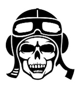 Fighter Pilot Skull Decal Sticker