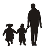 Dad and Children Silhouette v1 Decal Sticker