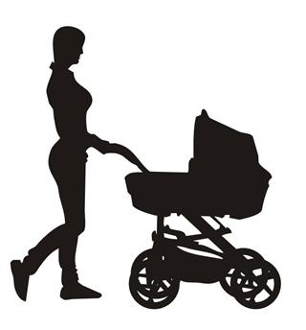 Mother And Baby Stroller Silhouette 3 Decal Sticker