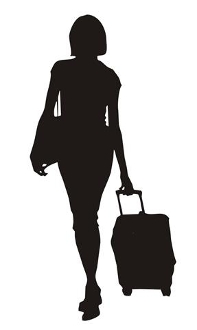Woman With Luggage Silhouette 1 Decal Sticker
