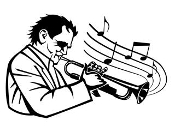 Trumpet Player and Music Decal Sticker