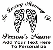 Memorial with Angel Wings Decal Sticker