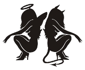 Devil and Angel Girls v2 Decal Sticker
