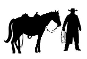Cowboy and Horse Silhouette Decal Sticker
