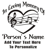 Memorial with Heart and Music Decal