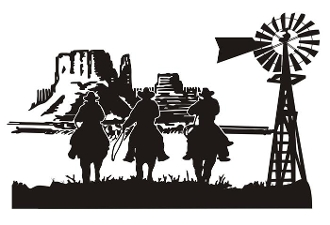 Cowboys Western Scene v2 Decal Sticker