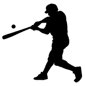 Baseball Hitter Silhouette v3 Decal Sticker