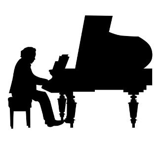 Piano Player Silhouette Decal Sticker