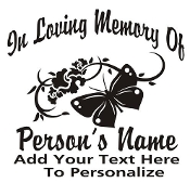 Memorial with Butterfly v2 Decal Sticker