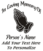 Memorial with Praying Hands Decal Sticker