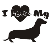 I Love My Dachshund Decal Sticker
