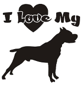 I Love My Pit Bull Decal Sticker