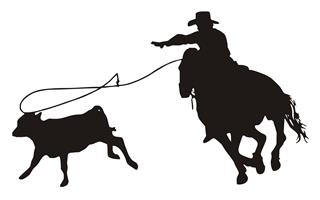 Calf Roping Silhouette V3 Decal Sticker