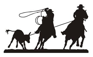 Calf Roping Silhouette v6 Decal Sticker