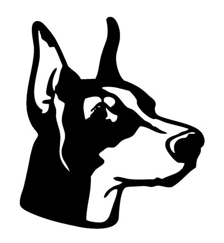 Doberman head 2 decal sticker