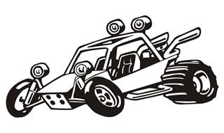 Dune Buggy Cartoon Decal Sticker