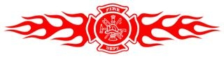 Fire Dept Shield with Flames v2 Decal Sticker