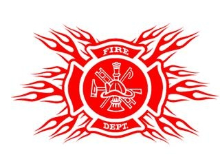Flaming Fire Dept Shield Decal Sticker