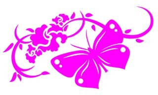 Floral Design with Butterfly v8 Decal Sticker
