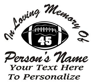 Football Player Memorial Decal Sticker