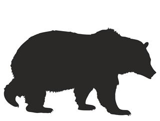 Grizzly Bear Silhouette Decal Sticker