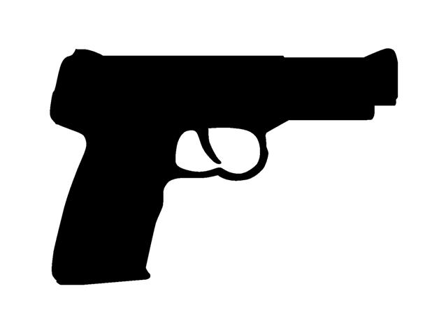 Hand gun silhouette decal sticker