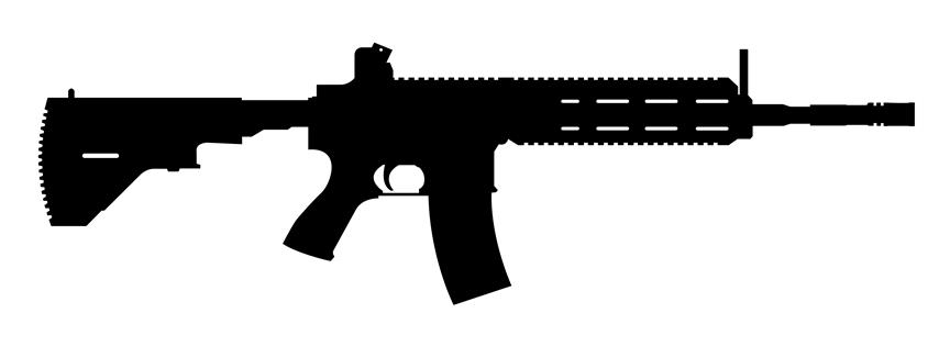 M416 machine gun silhouette decal sticker