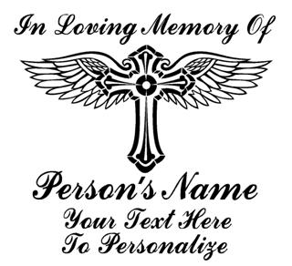 Memorial Cross with Wings v2 Decal Sticker