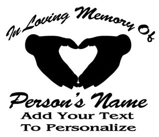Memorial Heart Hands Decal Sticker