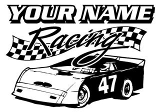 Personalized Late Model Raing v6 Decal Sticker