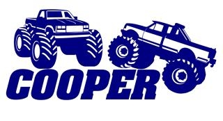 Personalized Name with Monster Trucks Decal Sticker