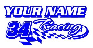 Personalized Racing 6 Decal Sticker
