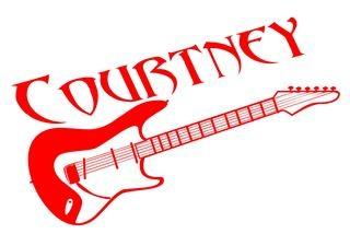 Personalized Name with Guitar Decal Sticker