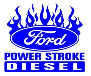 power stroke with flames 1 decal sticker rh stickthisgraphics com ford powerstroke diesel logo ford powerstroke logo wallpaper
