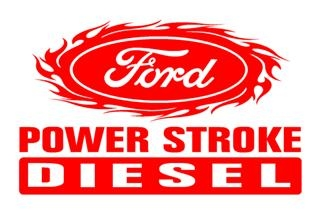 Power Stroke with Flames v2 Decal Sticker