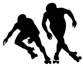 Roller Skaters Silhouette Decal Sticker