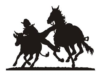 Steer Wrestling Silhouette Decal Sticker