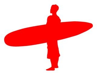 Surfer Silhouette v3 Decal Sticker