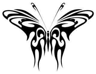 Tribal Butterfly v5 Decal Sticker