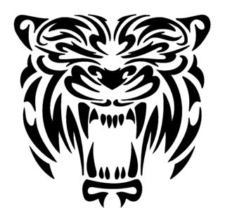tribal tiger head decal sticker. Black Bedroom Furniture Sets. Home Design Ideas